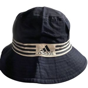 Adidas Bucket Hat Blue with 3 White Stripes